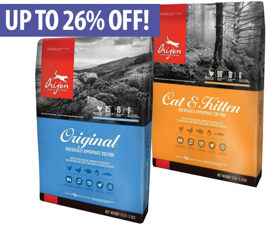 Up to 26% off ORIJEN Food & Treats